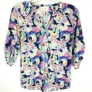 YUMI KIM women's floral blouse 3/4 sleeve Size L